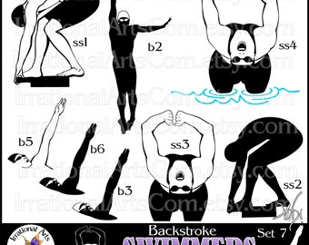 Swimmer Silhouettes Set 7 Backstroke - 8 png clipart graphics {Instant Download}