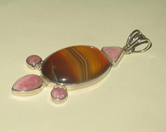 Natural Rose Quartz and Precious Polished Brown Agate on 925 Sterling Silver