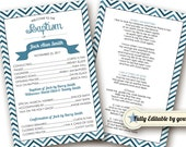 INSTANT DOWNLOAD - Printable Baptism Program - LDS, Girl, Boy - Fully Editable - Mormon Baptism Program - Two Sided Baptism Program