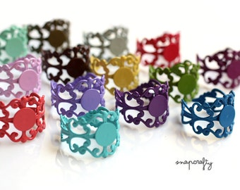 50pc adjustable filigree ring blanks / colorful enameled ring bases / 18 pretty colors / lead, nickel free ring setting / bezel 7mm glue pad