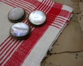 Vintage Large, Gorgeous, Mother of Pearl Buttons, 3, Self Shank, Bakelite Border