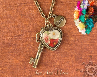Heart Bezel and Skeleton Key Pendant Making Kit - Bronze - Blank Heart Setting With Antique Key and Love Charm