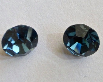 Vintage Czech Round 8mm Faceted Crystal Chatons - Sapphire Blue (2)