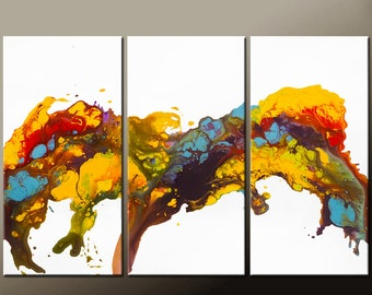 Abstract Canvas Art Painting 3pc 54x36 Original Contemporary Painting by Destiny Womack - dWo -  Wild Dreams SALE