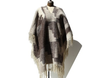 Vintage Tan & Brown Wool Mohair Poncho Cape