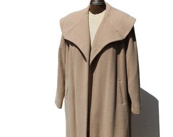 Vintage Sandy Cove Tan Wool Coat / Cashmere Duster Coat