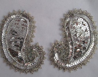 Vintage Set of Gorgeous Bright Silver Sequined Paisley Appliqués - Vintage Beaded Paisleys - Embellish Paisley - Costume Design