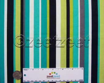 Michael Miller STRAIGHTEN OUT STRIPE Groovy Guitars Lagoon Black Grey Lime White Quilt Fabric Sold by the Yard, Half Yard or Fq Fat Quarter