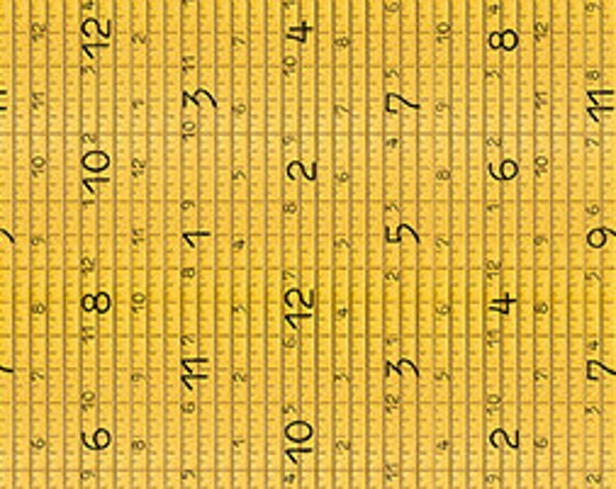"""TAPE MEASURE """"She Who Sews"""" GOLD Yellow Printed Cotton Quilt Fabric by the Yard Half Yard, or Fat Quarter Fq Draw Near Sewing Sewers Notions"""