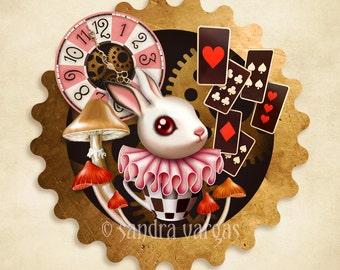 Bunny Time, 8 x 8 Art Print Digital Illustration, Alice in Wonderland, White Bunny