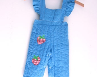 Vintage baby girl overalls quilted with strawberries 9 to 12 months