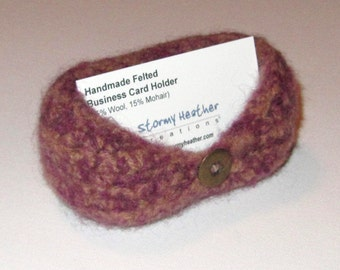 Handmade Felted Business Card Holder - Purple and Tan - Wool & Mohair (BC1-002)