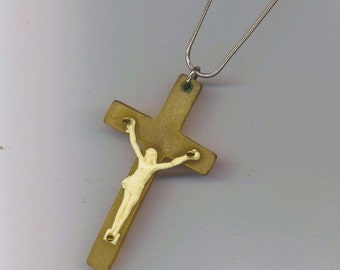 Vintage Crucifix Pendant . Rare Old Celluloid Cross . Jesus Figure . Faith Christianity . Christian Jewelry - INRI by enchantedbeas on Etsy