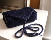 Dark blue tarot wrap.  knit tarot holder.  tarot bag.