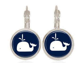 Glass Dome Earrings, Drop Style Earrings, Glass Earrings, Whale Earrings, Preppy Earrings (NAVY WHALE)