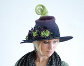Witch wizard hat with flowers felted from wool green black Haloween costume CUSTOM MADE choose your own colors