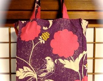 Echino Bird Tote Bag, Wild Birds on Purple TIGHT 'n' TIDY Tote Bag, Reusable Folding Shopping Bag, Pink White Blackberry Flowers Birds