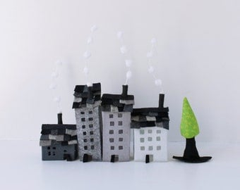 Felt ornaments, set of grey buildings of felt, with a tree, miniature houses, Home decorations,