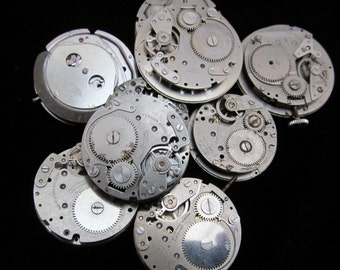 Vintage Antique Industrial Looking Watch Movements Steampunk Altered Art Assemblage DI 73