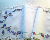 Vintage Table Runner Hand Embroidered Antique Linens Crochet Lace