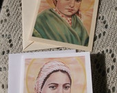 Saint Bernadette of Lourdes, Religious, Visonary, Stationary Cards on White and Ivory Card Stock taken from my Original Acrylic Painting
