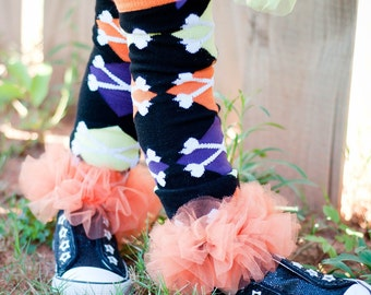 Orange Halloween ruffle tutu leg warmers, Tutu Leggings, Perfect for your little pumpkin, Halloween costume, party, photos