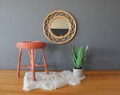Round Natural Bamboo Rattan Wall Mirror
