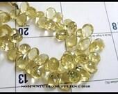 Lemon Quartz Gemstone Briolette Faceted Teardrop Pear 10 to 12mm 25 beads 1/2 Strand