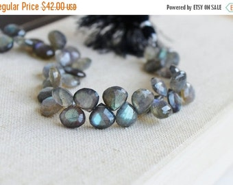 Clearance SALE Labradorite Gemstone Briolette Grey Faceted Heart Top Drilled 11 to 12mm 18 beads
