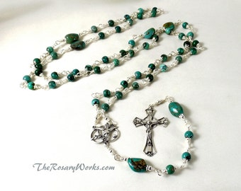 Natural Turquoise Rosary Beads Sterling Silver HolySpirit Blue Wire Wrapped Unbreakable Traditional Catholic 5 Decade