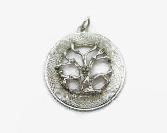 Sterling Tree Charm - Silver, Tree of Life, Round Pendant