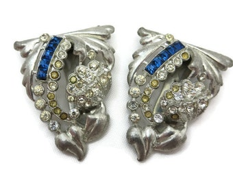 Art Deco Dress Clip Set - Rhinestone Vintage Sapphire Blue