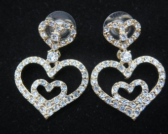 Rhinestone Heart Earrings - Nolan Miller Jewelry, Clear Rhinestone, Designer Costume Jewelry