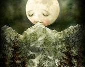 ON SALE The Peckish Moon 11X14 print -- baby shower art. children's art, moon painting, moon poster for children, baby shower gift, space de