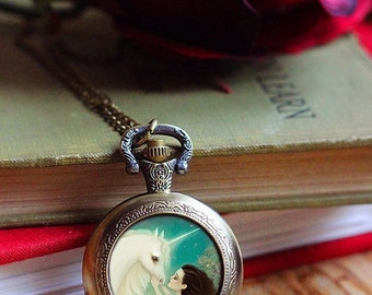 ON SALE Unicorn Kiss watch locket -- unicorn necklace pocket watch -- children's jewelry unicorn magic watch - Meluseena