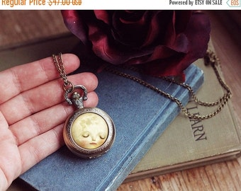 ON SALE Sweet Moon watch locket -- moon locket moon necklace jewelry, pocket watch necklace locket, moon watch -- Meluseena