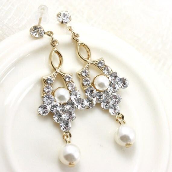 Wedding Earrings Gold Dangle Earrings Wedding Jewelry For Brides Wedding Earrings Pearl Small Dangle Earrings SEPTEMBER