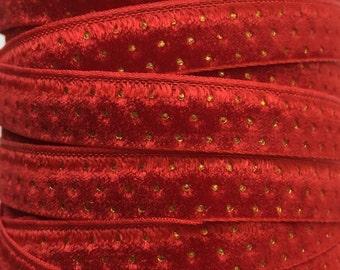 Velvet With Gold Dots 3 Yards Velvet Ribbon Trim True Red 3/8 Inch Wide