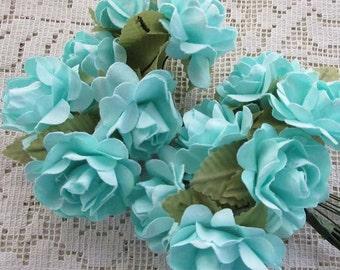 Paper Flowers 12 Open Millinery Roses In Aqua