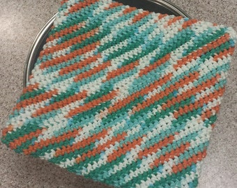 Pot Holder (One), Crocheted, Double Thick for Extra Protection – Ahoy Ombre (Extra Large)