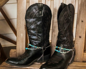 Adjustable Boot Chain Cowboy Boot Jewelry with Silver, Fire Agate, Aqua Terra Jasper, Turquoise and Bone