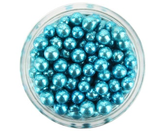 Blue Dragees 1oz - shiny metallic blue sugar pearls sprinkles balls for topping cakes, cupcakes, cookies, and cake pops