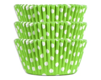 Lime Green Polka Dot Baking Cups - 50 paper cupcake liners