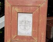 4 x 6 PINK old vintage wood picture frame