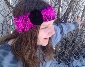 Spring Headband w/ flower / Neon Pink