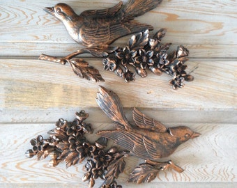 vintage. syroco. wall hanging. bird on a branch. cherry blossom. swallow. rero. 1960s. wall decor. set. pair. two. coppercraft. copper craft