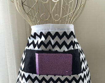 Vendor Apron Half Waist iPad Teacher Craft Black White Chevron Fabric (4 Pockets)