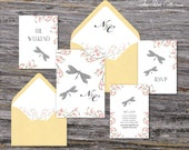 Secret Garden Wedding Invitation (Dragonfly, Pink Cherry Blossoms with Your Pick of Envelopes) - Park Collection Sample