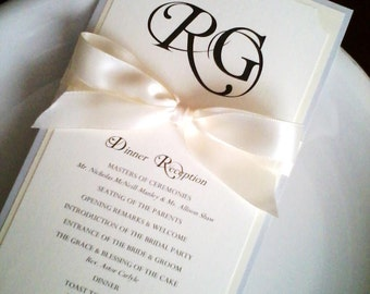 Wedding Reception Program, Menu, Wine List in Custom Colors, Fonts with Ribbon Knot/Bow - Guest Name Option - Bistro Collection SAMPLE