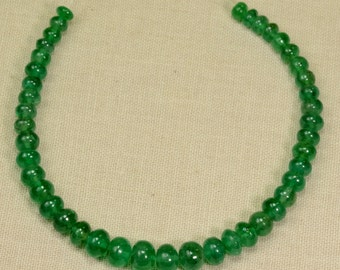 3.88mm-5.8mm Zambian EMERALD Smooth Rondelle Beads 6 inch strand